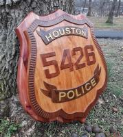 Police badge sign, Houston Police Department badge sign, 3D badge replica, Custom wood sign, Personalized wood sign,